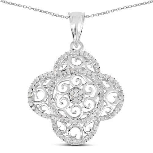 Diamond-0.57 Carat Genuine White Diamond .925 Sterling Silver Pendant