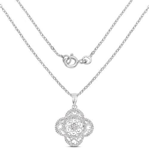 0.57 Carat Genuine White Diamond .925 Sterling Silver Pendant