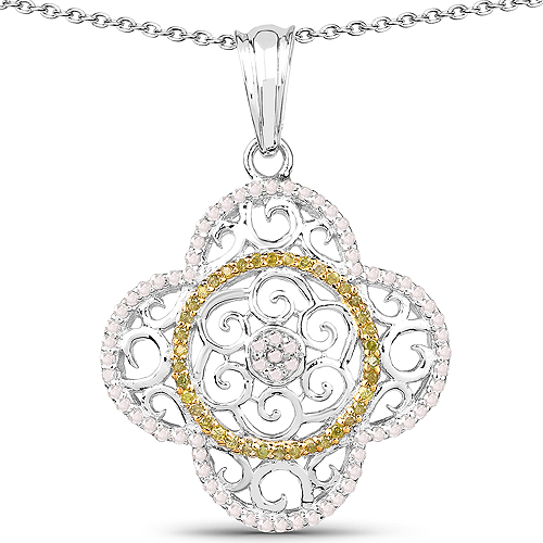 Diamond-0.57 Carat Genuine White Diamond and Yellow Diamond .925 Sterling Silver Pendant