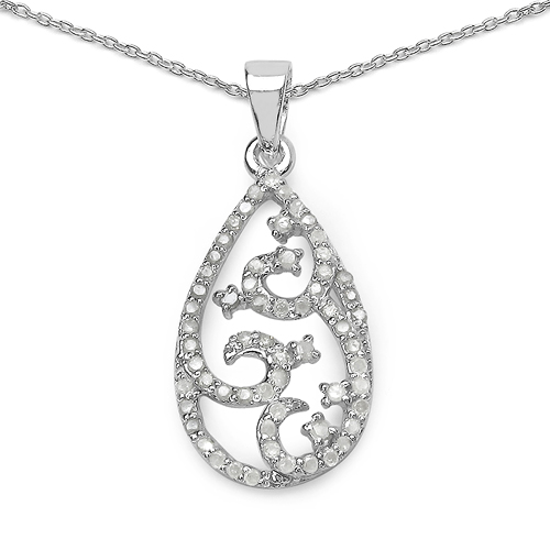 Diamond-0.56 Carat Genuine White Diamond .925 Sterling Silver Pendant