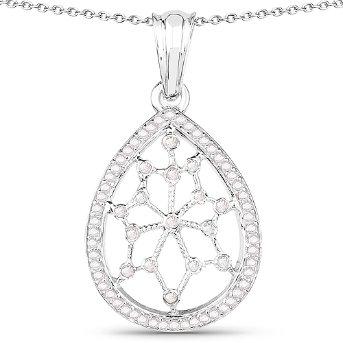Diamond-0.45 Carat Genuine White Diamond .925 Sterling Silver Pendant