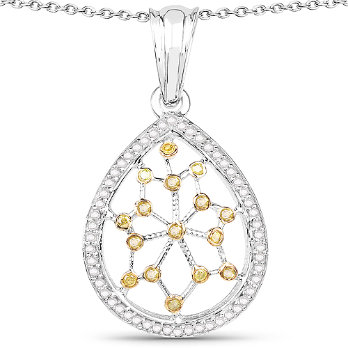 Diamond-0.45 Carat Genuine White Diamond and Yellow Diamond .925 Sterling Silver Pendant