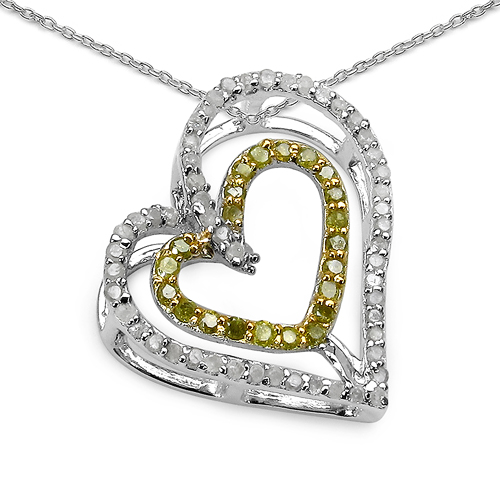 Diamond-0.51 Carat Genuine White Diamond & Yellow Diamond .925 Sterling Silver Pendant