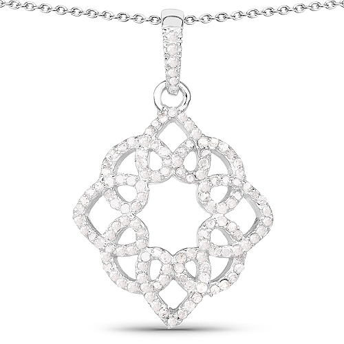 Diamond-0.66 Carat Genuine White Diamond .925 Sterling Silver Pendant