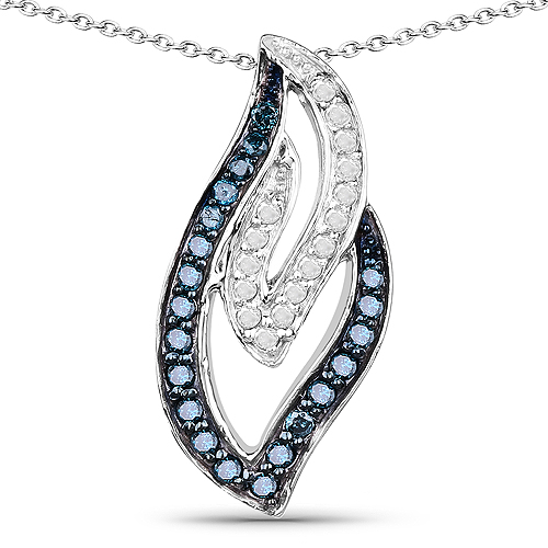 Diamond-0.23 Carat Genuine White Diamond and Blue Diamond .925 Sterling Silver Pendant