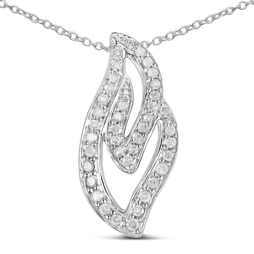 Diamond-0.22 Carat Genuine White Diamond .925 Sterling Silver Pendant
