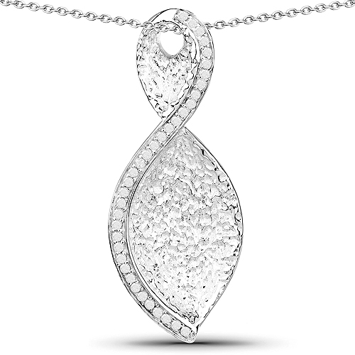Diamond-0.32 Carat Genuine White Diamond .925 Sterling Silver Pendant