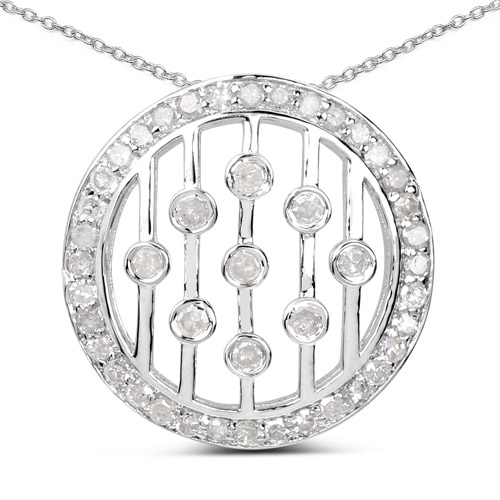 Diamond-0.53 Carat Genuine White Diamond .925 Sterling Silver Pendant