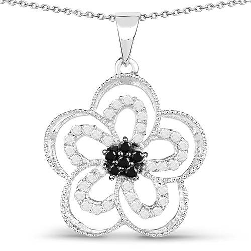 Diamond-0.46 Carat Genuine White Diamond and Black Diamond .925 Sterling Silver Pendant