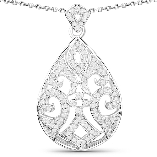Diamond-0.55 Carat Genuine White Diamond .925 Sterling Silver Pendant
