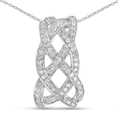 Diamond-0.54 Carat Genuine White Diamond .925 Sterling Silver Pendant