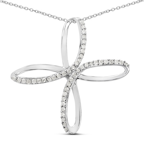 Diamond-0.41 Carat Genuine White Diamond .925 Sterling Silver Pendant