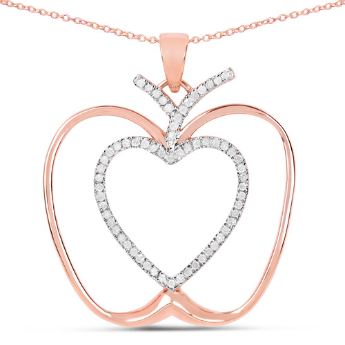 Diamond-14K Rose Gold Plated 0.19 Carat Genuine White Diamond .925 Sterling Silver Pendant