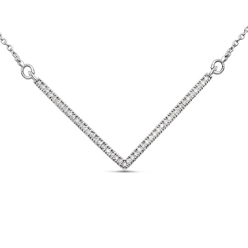 Diamond-0.14 Carat Genuine White Diamond .925 Sterling Silver Pendant
