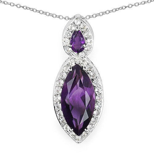 Amethyst-3.53 Carat Genuine Amethyst and White Topaz .925 Sterling Silver Pendant