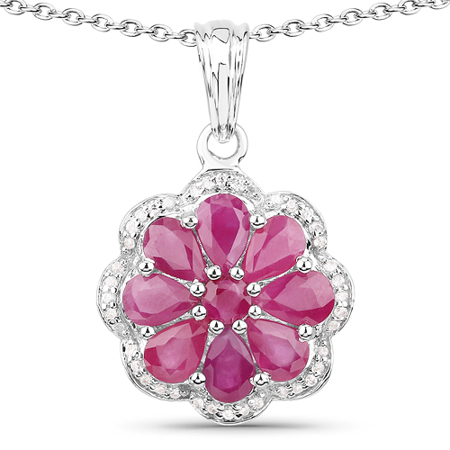 Ruby-3.83 Carat Genuine Ruby and White Zircon .925 Sterling Silver Pendant
