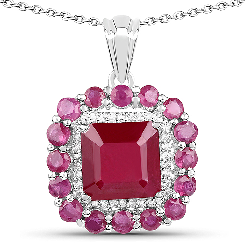 Ruby-8.48 Carat Glass Filled Ruby and White Topaz .925 Sterling Silver Pendant