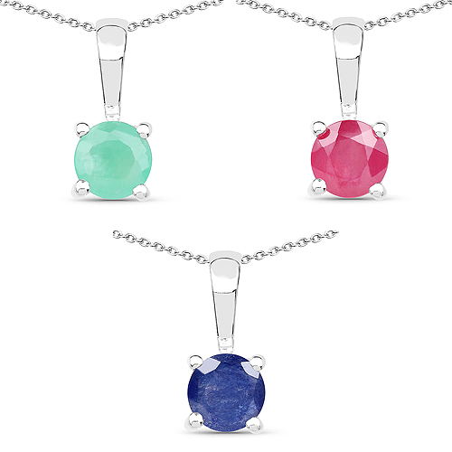 Emerald-1.63 Carat Genuine Emerald, Glass Filled Ruby & Glass Filled Sapphire .925 Sterling Silver Pendant