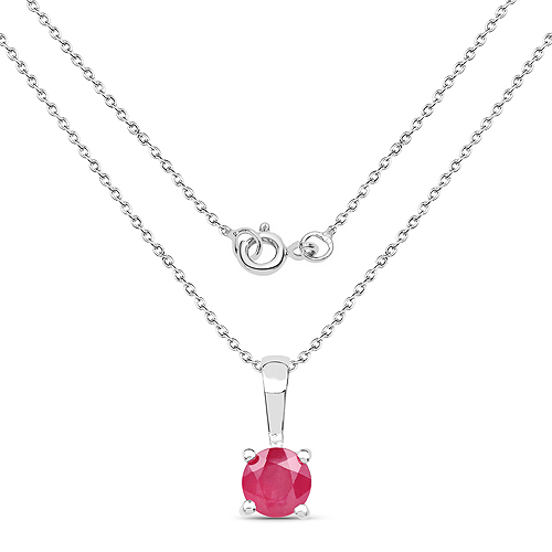 1.63 Carat Genuine Emerald, Glass Filled Ruby & Glass Filled Sapphire .925 Sterling Silver Pendant