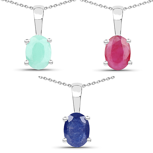 Emerald-2.65 Carat Genuine Emerald, Glass Filled Ruby & Glass Filled Sapphire .925 Sterling Silver Pendant