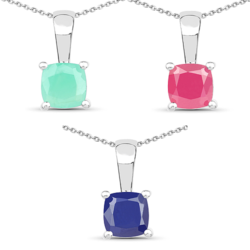 Emerald-1.80 Carat Genuine Emerald, Glass Filled Ruby & Glass Filled Sapphire .925 Sterling Silver Pendant
