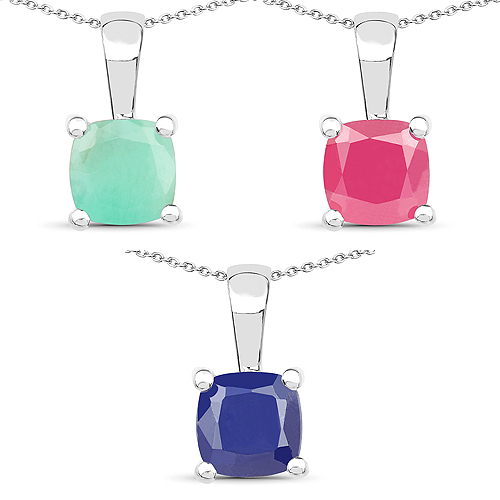 Emerald-3.00 Carat Genuine Emerald, Glass Filled Ruby & Glass Filled Sapphire .925 Sterling Silver Pendant