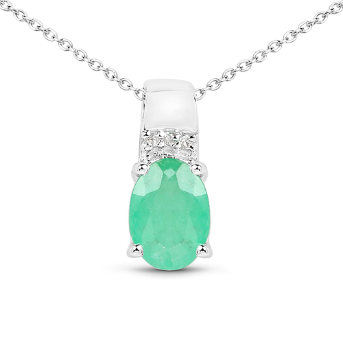 Emerald-0.74 Carat Genuine Zambian Emerald and White Topaz .925 Sterling Silver Pendant