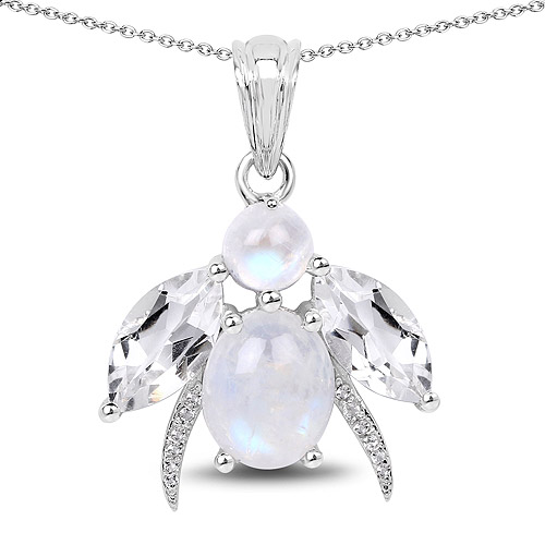 Pendants-7.43 Carat Genuine White Rainbow Moonstone, Crystal Quartz and White Topaz .925 Sterling Silver Pendant