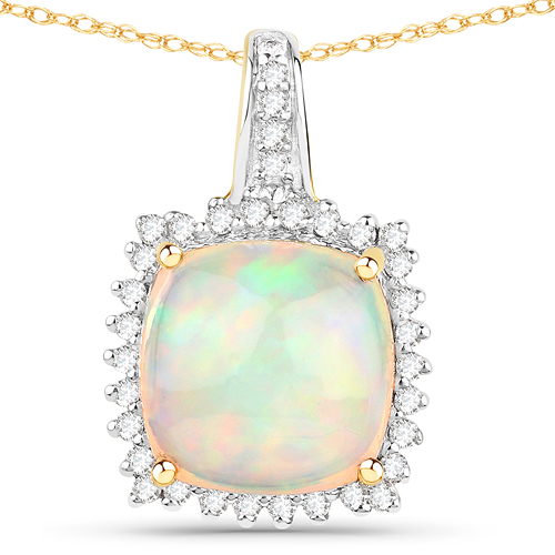 Opal-3.12 Carat Genuine Ethiopian Opal and White Diamond 14K Yellow Gold Pendant