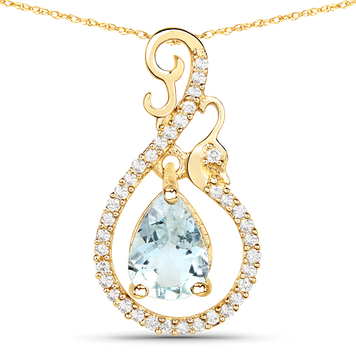 Aquamarine-0.76 Carat Genuine Aquamarine and White Diamond 14K Yellow Gold Pendant