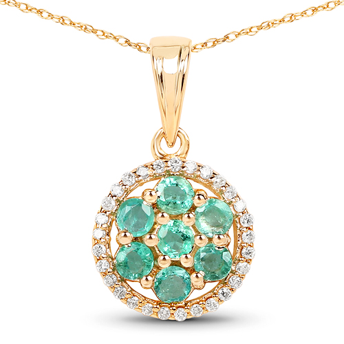 Emerald-0.58 Carat Genuine Zambian Emerald and White Diamond 14K Yellow Gold Pendant