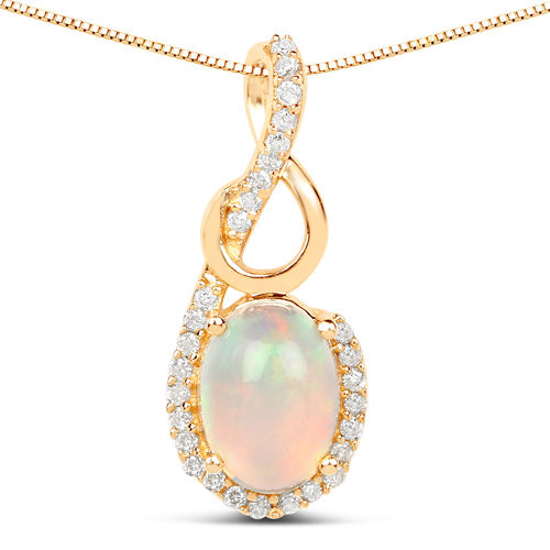 Opal-0.57 Carat Genuine Ethiopian Opal and White Diamond 14K Yellow Gold Pendant