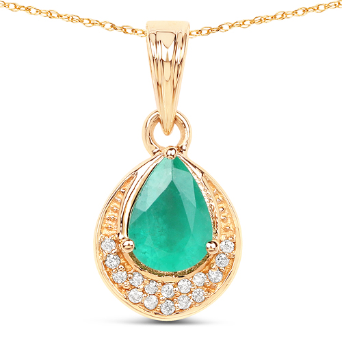 Emerald-0.90 Carat Genuine Zambian Emerald and White Diamond 14K Yellow Gold Pendant
