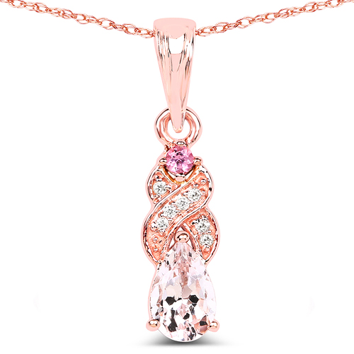 Pendants-0.43 Carat Genuine Morganite, Pink Tourmaline & White Diamond 14K Rose Gold Pendant