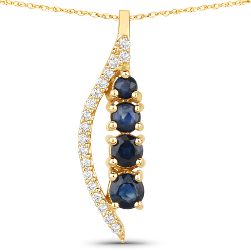 Sapphire-0.39 Carat Genuine Blue Sapphire and White Diamond 14K Yellow Gold Pendant