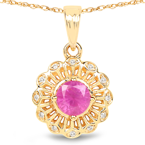 Ruby-0.59 Carat Genuine Ruby and White Diamond 14K Yellow Gold Pendant