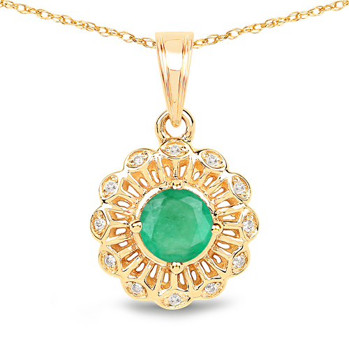 Emerald-0.46 Carat Genuine Zambian Emerald and White Diamond 14K Yellow Gold Pendant