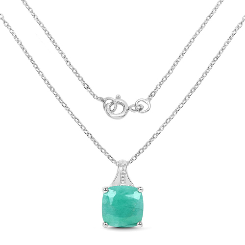 2.20 Carat Genuine Emerald Sterling Silver Pendant