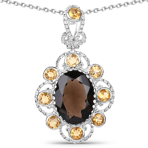 Pendants-7.47 Carat Genuine Smoky Quartz and Citrine .925 Sterling Silver Pendant
