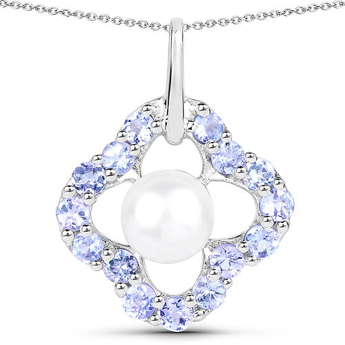 Pearl-3.00 Carat Genuine Pearl and Tanzanite .925 Sterling Silver Pendant