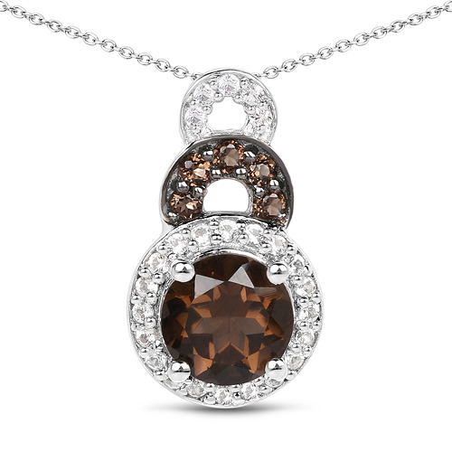 Pendants-0.95 Carat Genuine Smoky Quartz and White Topaz .925 Sterling Silver Pendant