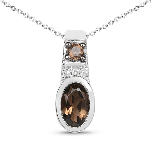 Pendants-0.50 Carat Genuine Smoky Quartz and White Topaz .925 Sterling Silver Pendant