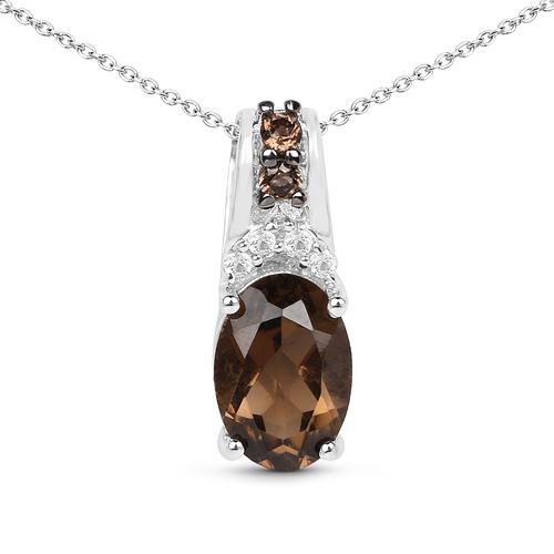 Pendants-0.75 Carat Genuine Smoky Quartz and White Topaz .925 Sterling Silver Pendant