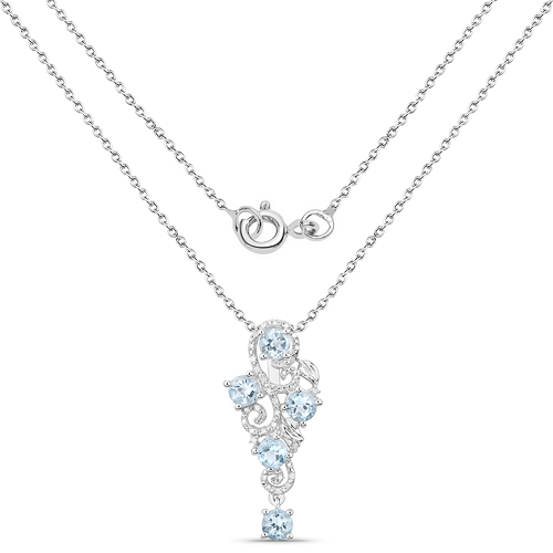 3.12 Carat Genuine Blue Topaz and White Diamond .925 Sterling Silver Pendant