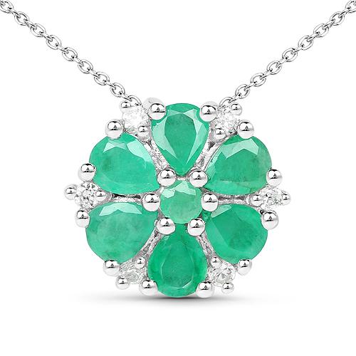 1.96 Carat Genuine Emerald and White Zircon .925 Sterling Silver Pendant