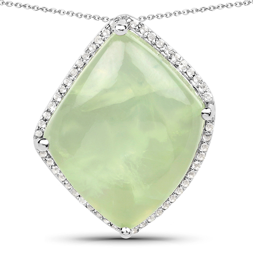 Pendants-11.30 Carat Genuine Prehnite And White Topaz .925 Sterling Silver Pendant