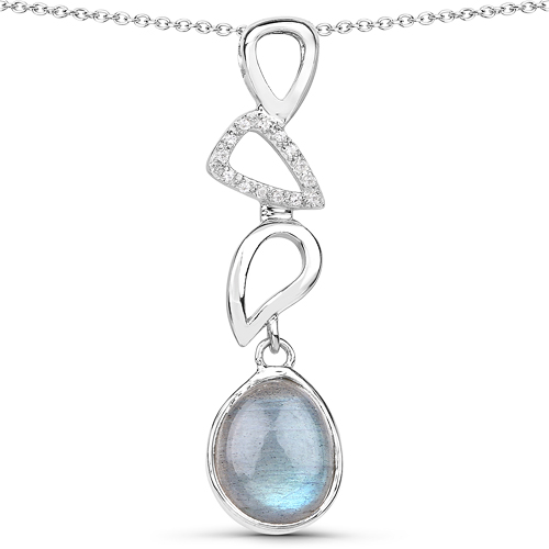 Pendants-3.29 Carat Genuine Labradorite And White Topaz .925 Sterling Silver Pendant