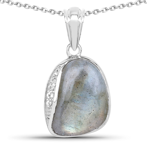Pendants-4.89 Carat Genuine Labradorite And White Topaz .925 Sterling Silver Pendant