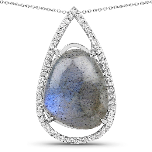Pendants-5.38 Carat Genuine Labradorite And White Topaz .925 Sterling Silver Pendant