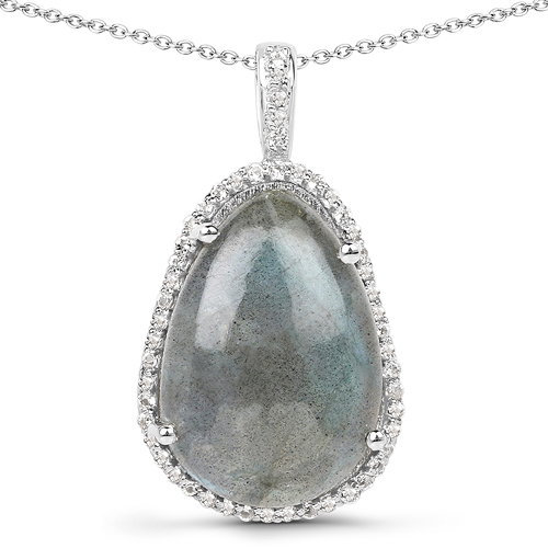 Pendants-8.65 Carat Genuine Labradorite And White Topaz .925 Sterling Silver Pendant